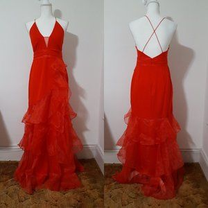 The Clothing Co Tomato Red Formal Ruffle Dress Sm